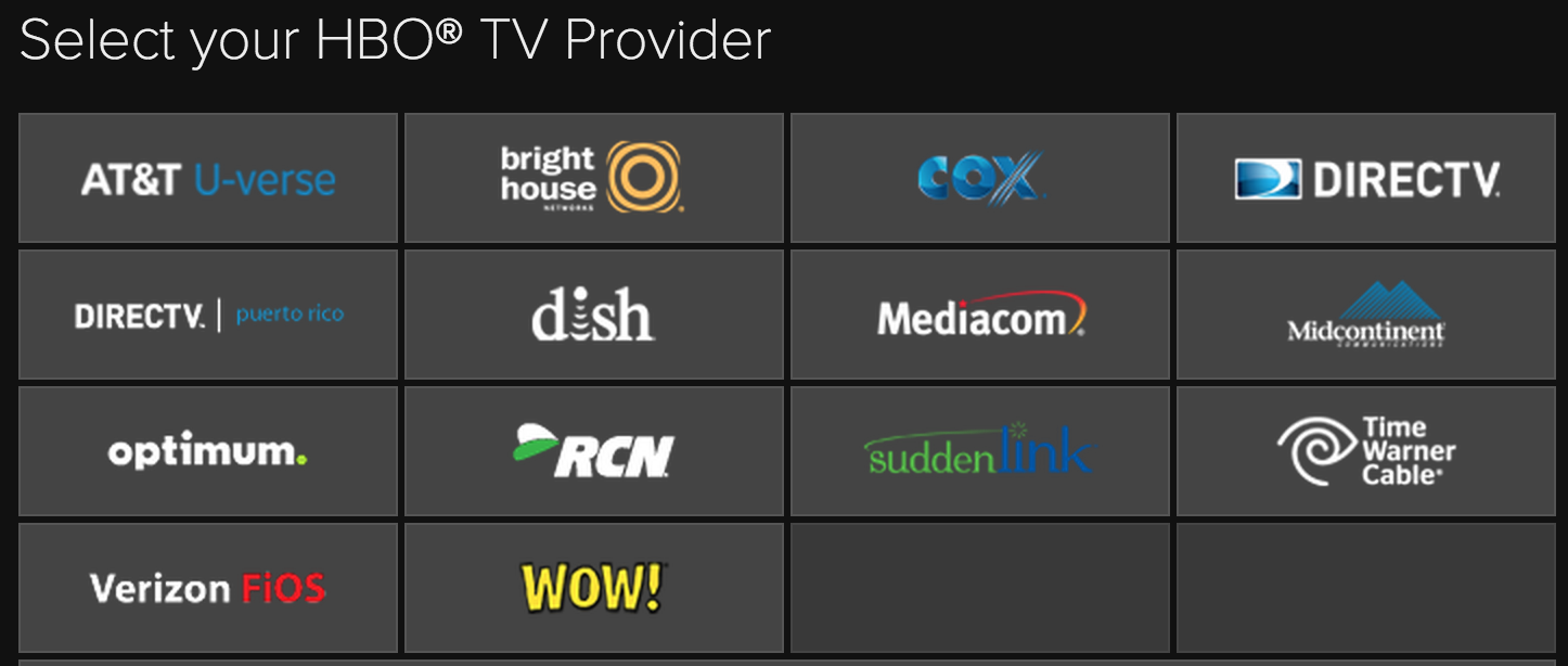 These are the pay-TV providers currently allowing HBO subscribers to access HBO Go on Amazon Fire TV.