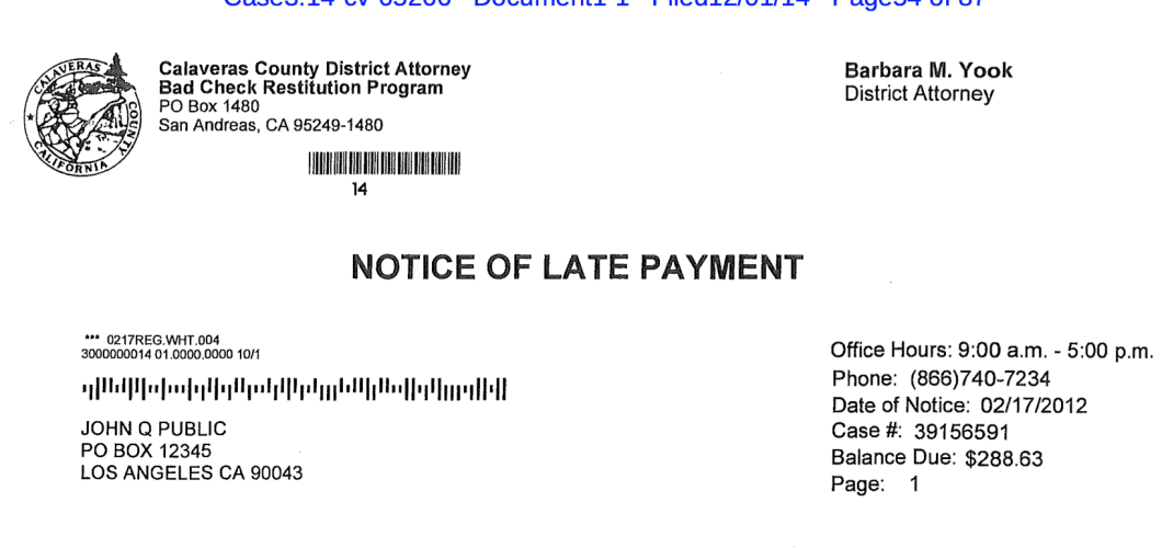 Debt collectors paying to use prosecutors letterheads to get people this late payment notice appears to come from the office of the calaveras county spiritdancerdesigns Images