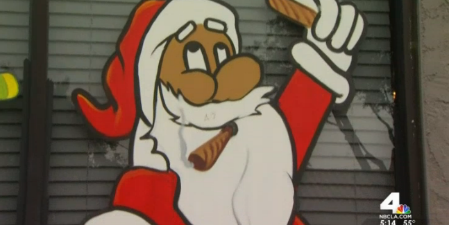 L A Medical Marijuana Dispensary Removes Pot Smoking Santa Painting From The Window After Complaints Consumerist