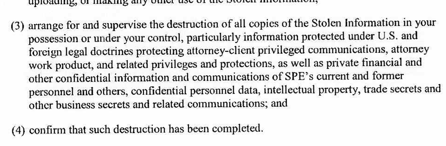From the letter sent by Sony's lawyers to reporters who may have written about or accessed files stolen in the recent hack.