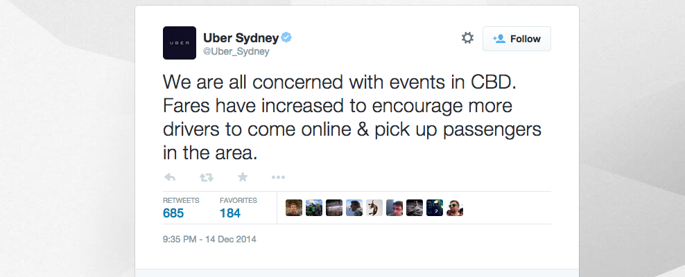 Uber's first take on the hostage situation? Surge pricing.