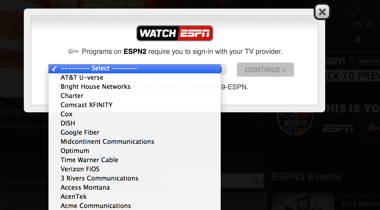 "While AT&T, Comcast, Charter, Dish, TWC, Cablevision, FiOS, and countless more have access to WatchESPN, DirecTV customers won't get it until ""early 2015."""