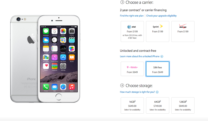Unlocked iPhone 6 And iPhone 6 Plus Now Officially Available In The U.S.