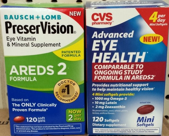 The Bausch + Lomb product on the left actually contains the eye health formula detailed in the NIH studies. The CVS product on the right mentions the formula, but lacks many of the essential components.