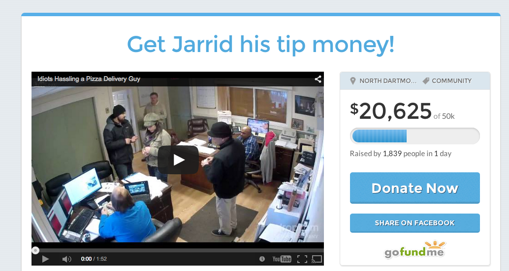 Crowdfunding Page Seeking Tips For Pizza Delivery Guy Hits $20K In Donations