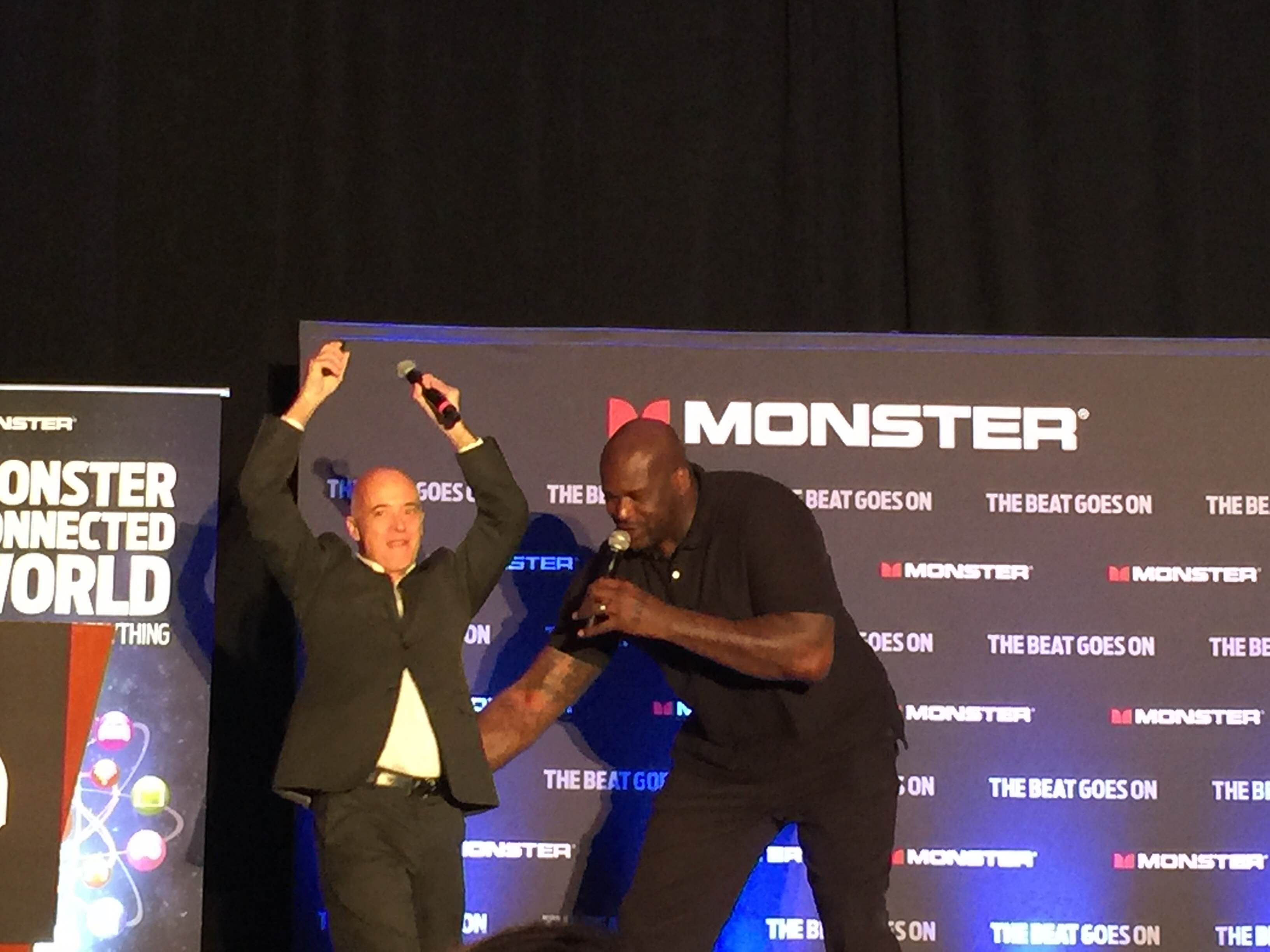 Shaquille O'Neal announced Monster's newest wireless speaker, the SuperStar BackFloat, during CES. He then attempted to drop a beat while Monster director of product development Vern Smith dropped it like it was hot.
