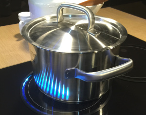 The Samsung Virtual Flame stove top uses induction heating and LED lights to show the intensity of heat.