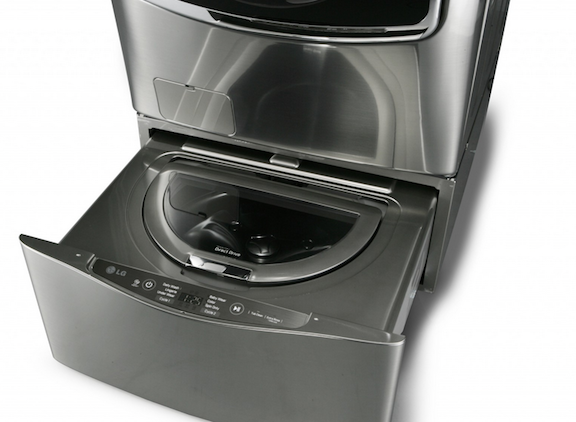 The LG mini-washer takes advantage of the dead space often associated with washing machine pedestals.