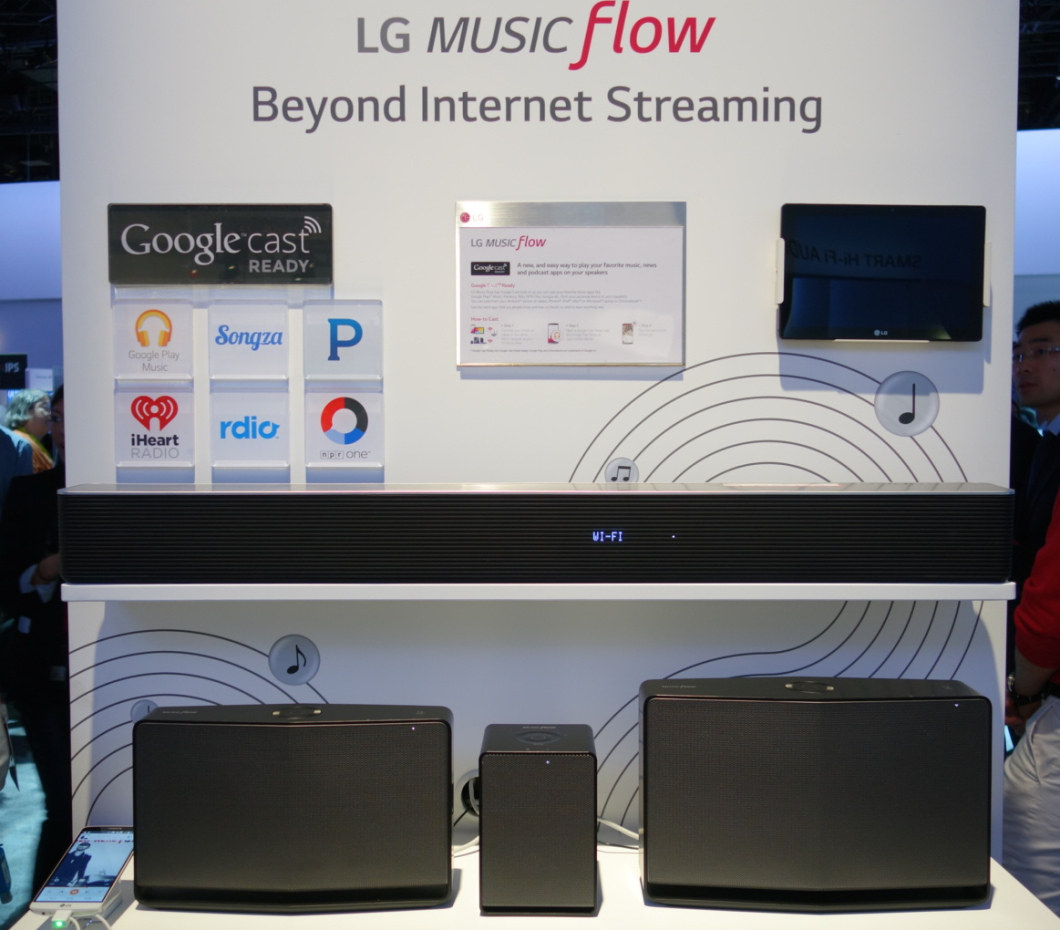 The higher-end Music Flow products from LG. The sound bar is a 7.1-channel surround speaker with an included subwoofer. No prices available on any of these yet.