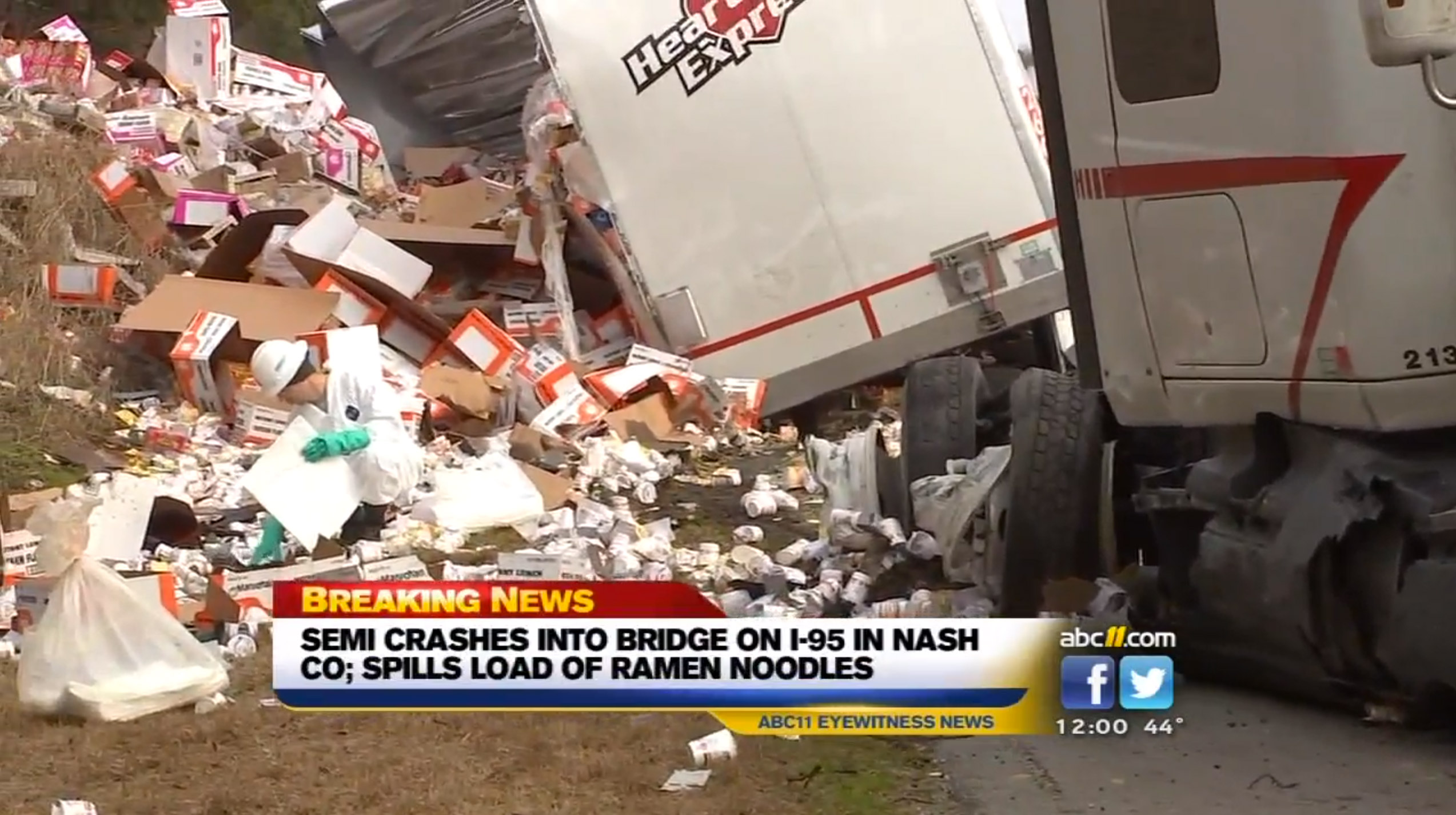 Tractor-Trailer Crash Leads To Ramen Noodles Spilled Across The Highway