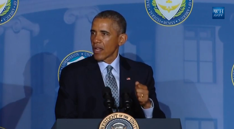 President Obama speaking to an audience at the FTC on January 12, 2015.
