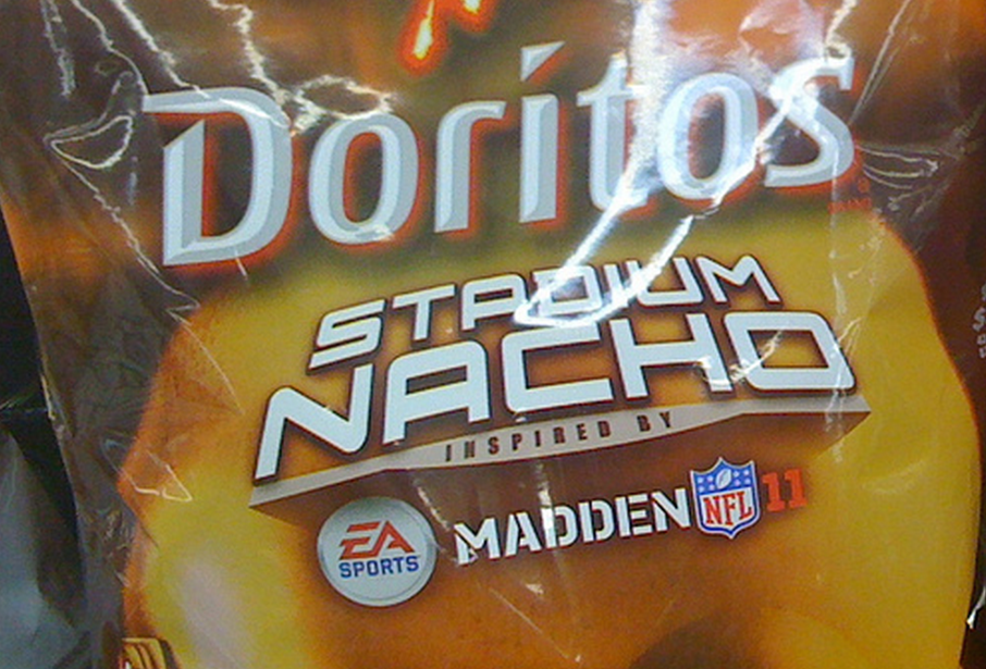 "The little-known ""Stadium Nacho,"" which is a refined blend of cheddar and Romano cheeses, with an insouciant hint of brand marketing for Madden NFL. (photo: Paxton Holley)"