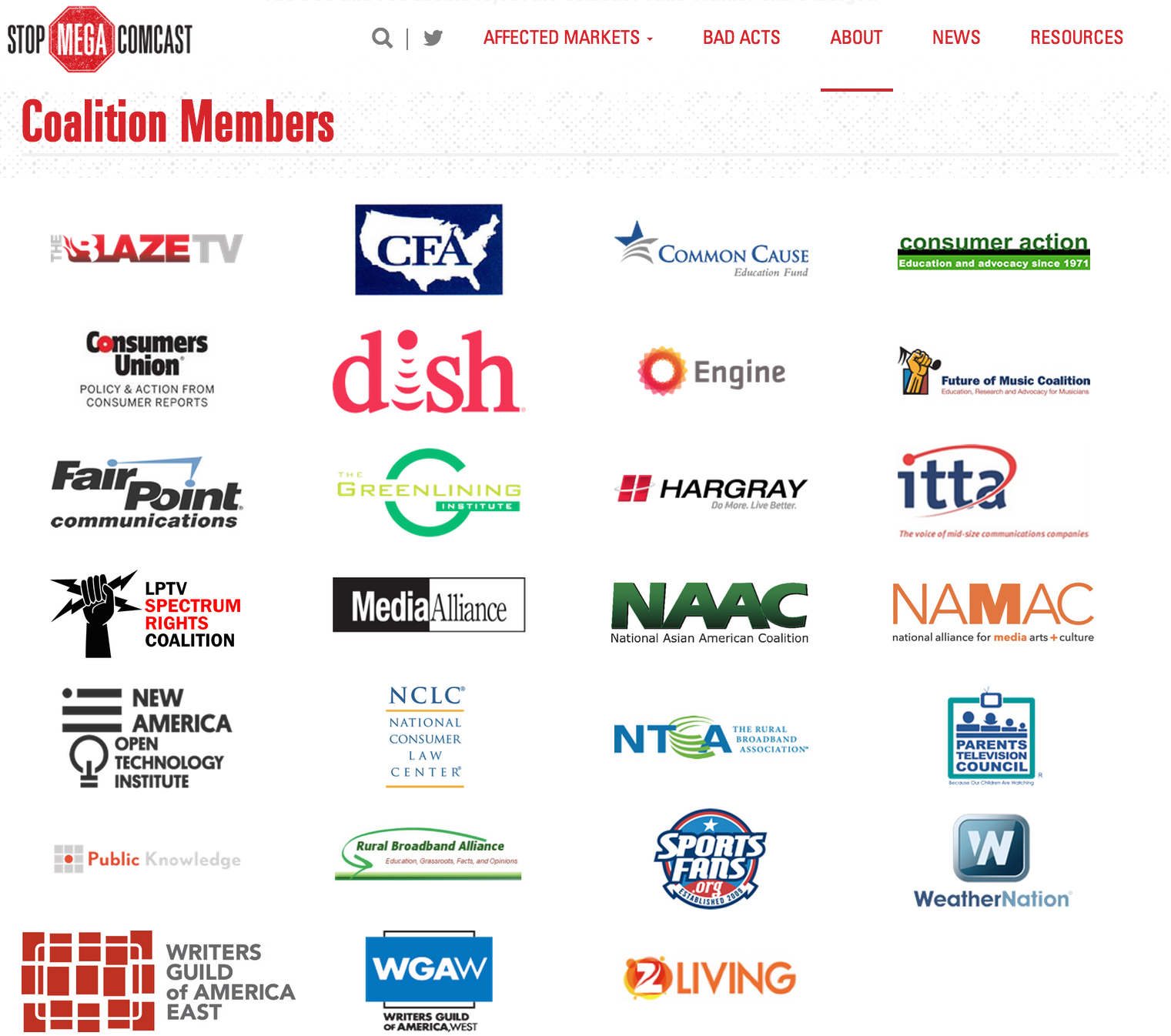 The current slate of groups involved in the Stop Mega Comcast Coalition.