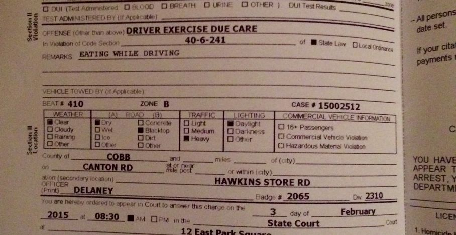 Driver Ticketed For Eating McDonald's While Driving