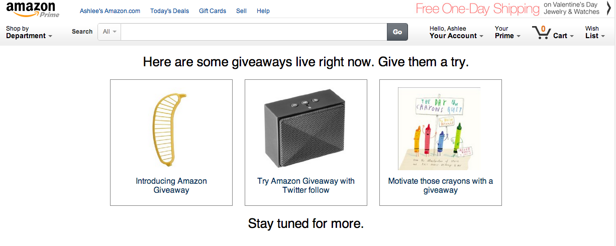 Amazon's Latest Service Allows Brands, Consumers To Host Online Giveaways