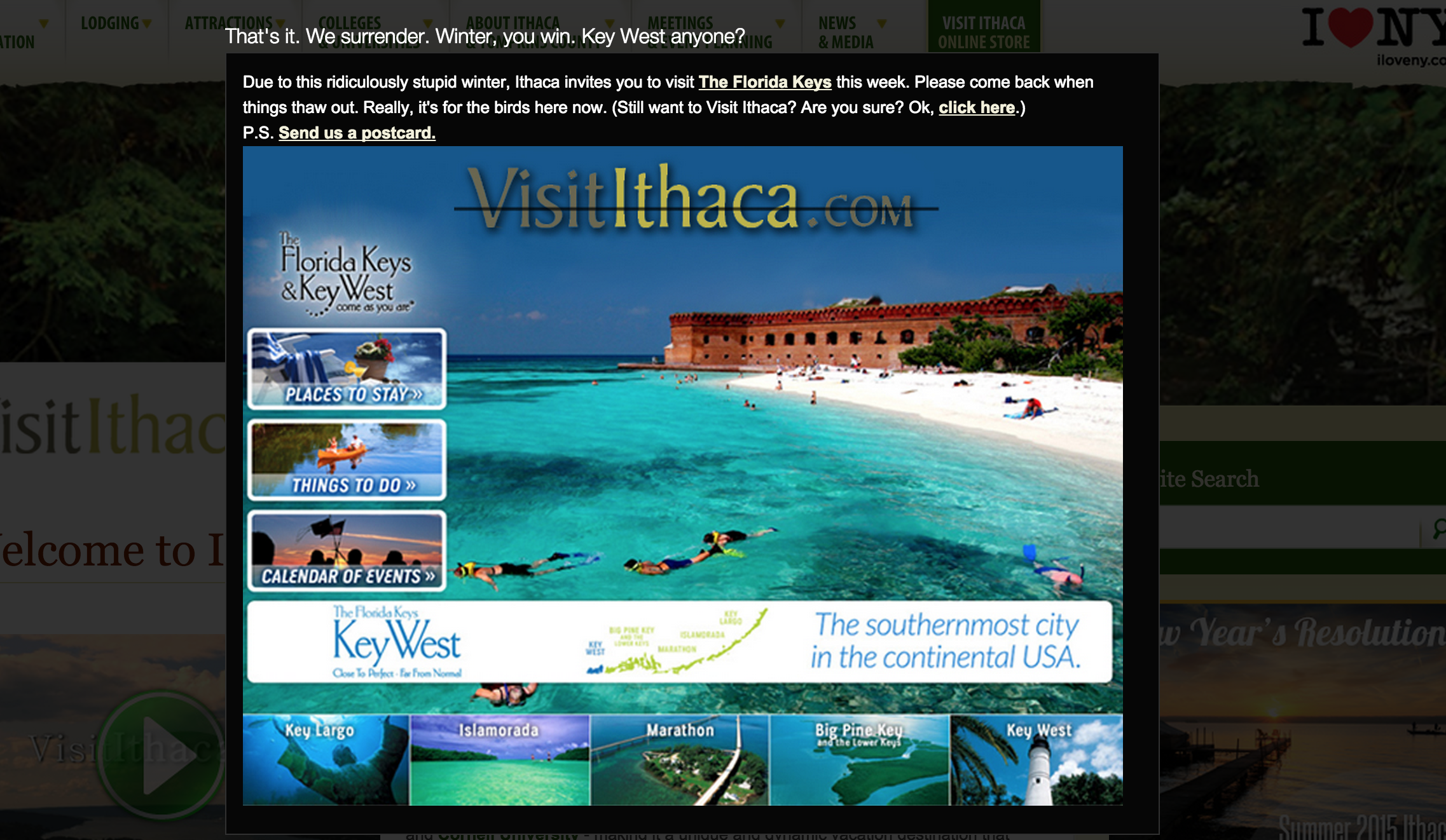 Visitors Bureau For Ice-Cold Ithaca Tells People To Just Go Get Warm In Key West