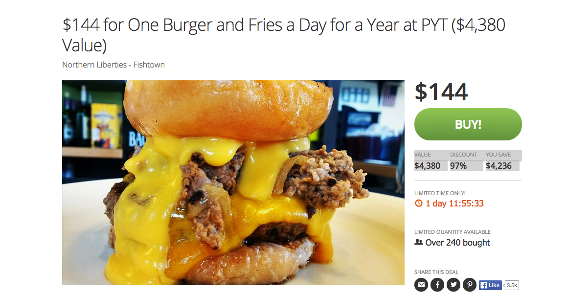 PYT's $144 Groupon Deal Entitles Pass Bearers To A Burger And Fries Every Day For A Year