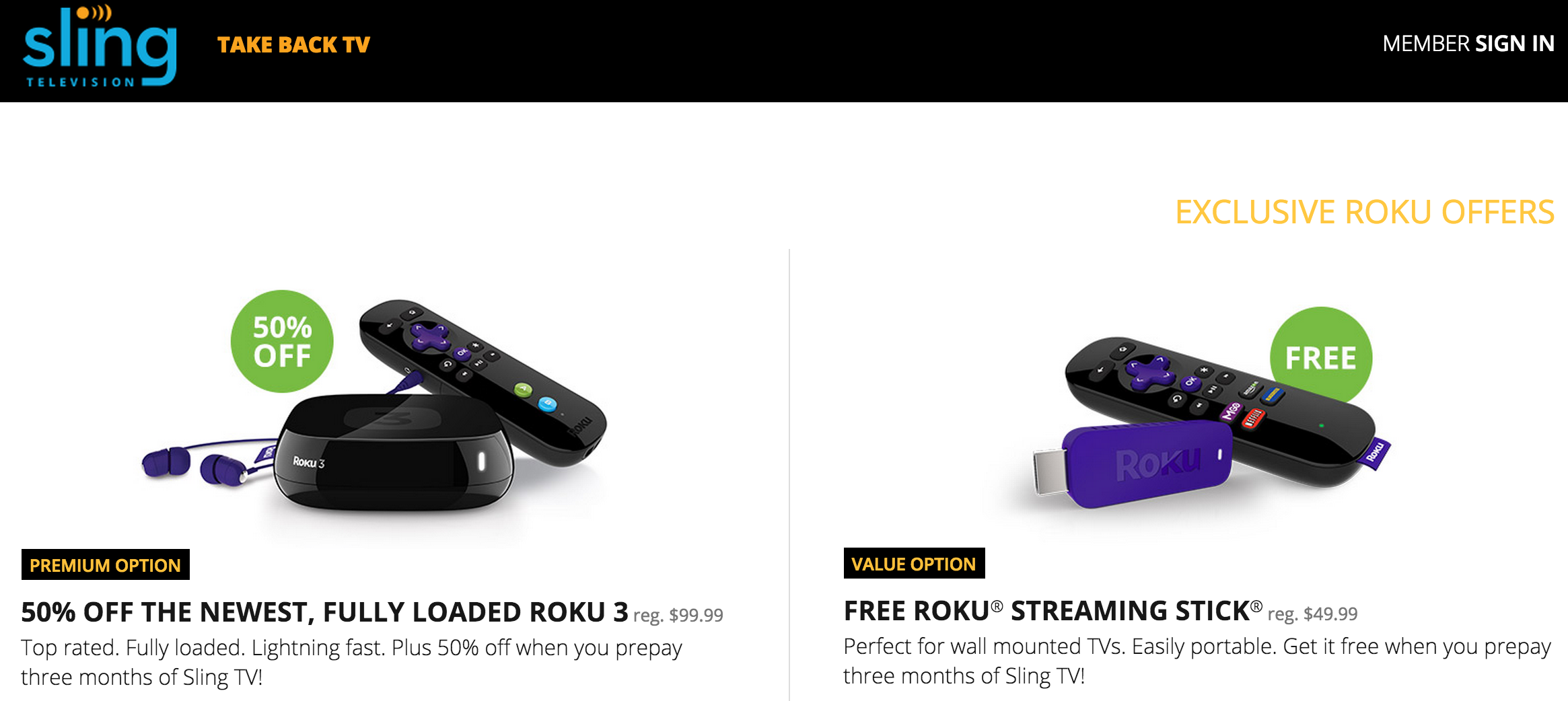 Sling is offering discounts on Ruko and Amazon streaming devices for people willing to prepay for three months of service.