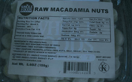 This is what the label looks like for the recalled nuts.