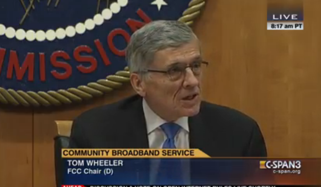 FCC Chairman Tom Wheeler speaking at the FCC's Open Meeting on February 26, 2015.