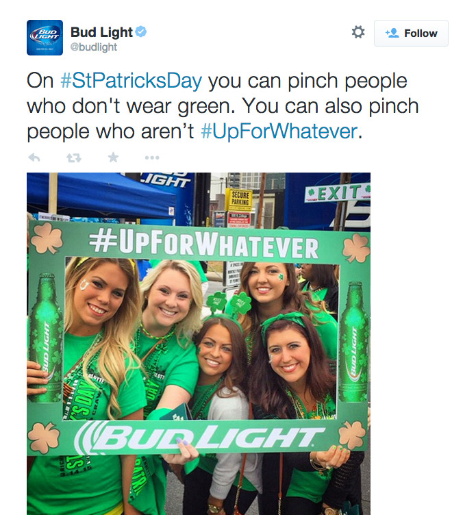 Bud Light Deletes Tweet Suggesting You Randomly Pinch People For St. Patrick's Day