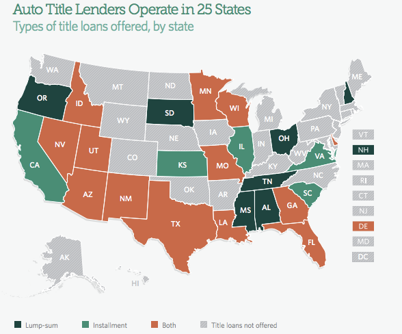 Auto title loans are currently available in 8,000 stores across 25 states.