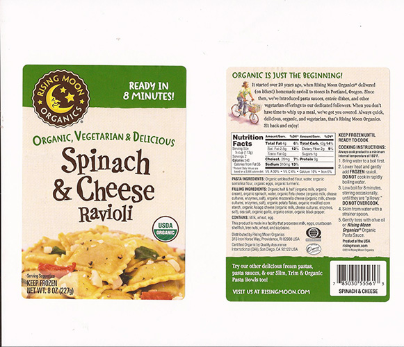 Rising Moon Organics Ravioli Recalled For Potential Spinach Listeria
