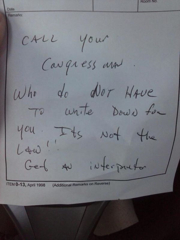 Her friend posted this letter, said to be written by a USPS worker. (Facebook)