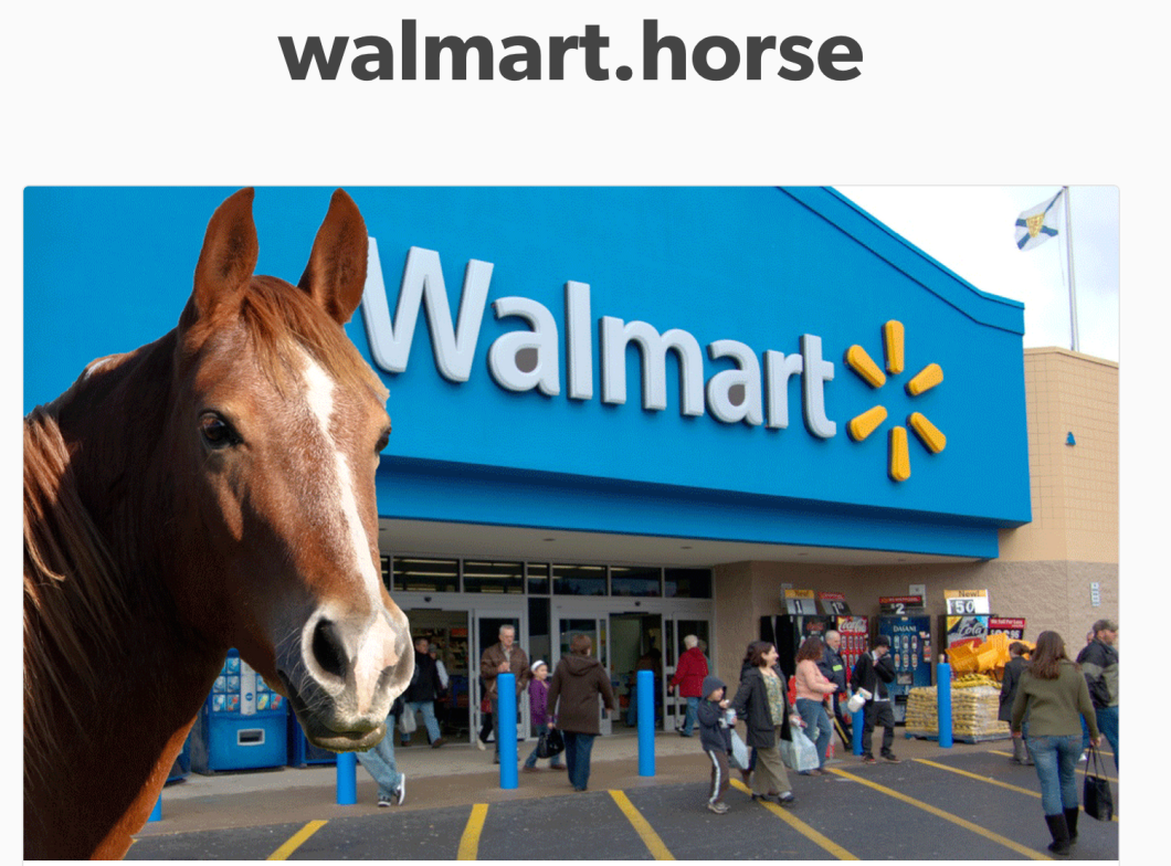 This image has nothing to do with the lawsuit, but it does help us maintain the rogue spirit of the short-lived Walmart.horse.