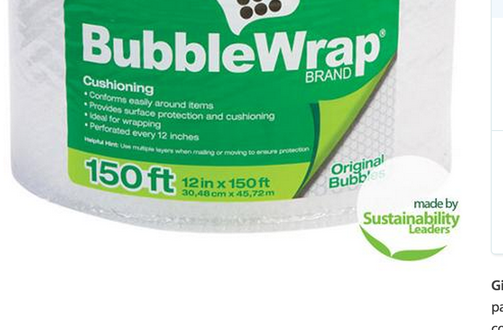 "The ""made by Sustainability Leaders"" badge on this 150' roll of bubble tape is not necessarily an indicator of the product's environmental impact."