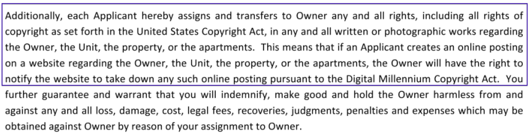 "The ""Social Media Addendum"" for this Orlando-area apartment complex not only fines tenants $10,000 for negative online reviews, but transfers the copyright of anything you write or any images you publish about the property or its management."