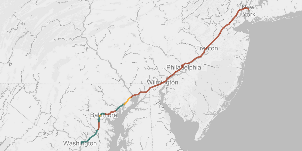 The National Journal tested download speeds on the AmtrakConnect WiFi service between D.C. and NYC. The few green spots along this line represent the only times they were able to connect with adequate broadband speeds. The swaths of red indicate speeds of anywhere from 0-.9 Mbps. (Courtesy: National Journal)