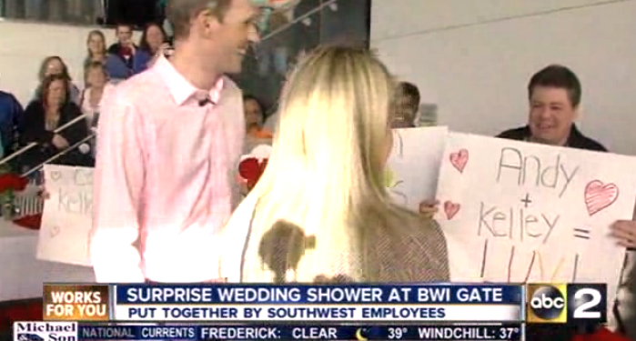 Southwest Airlines showed their romantic side Wednesday by hosting a wedding shower at the Baltimore Airport.