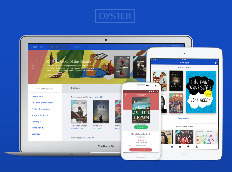 Subscription e-book service Oyster launched a retail component Wednesday.
