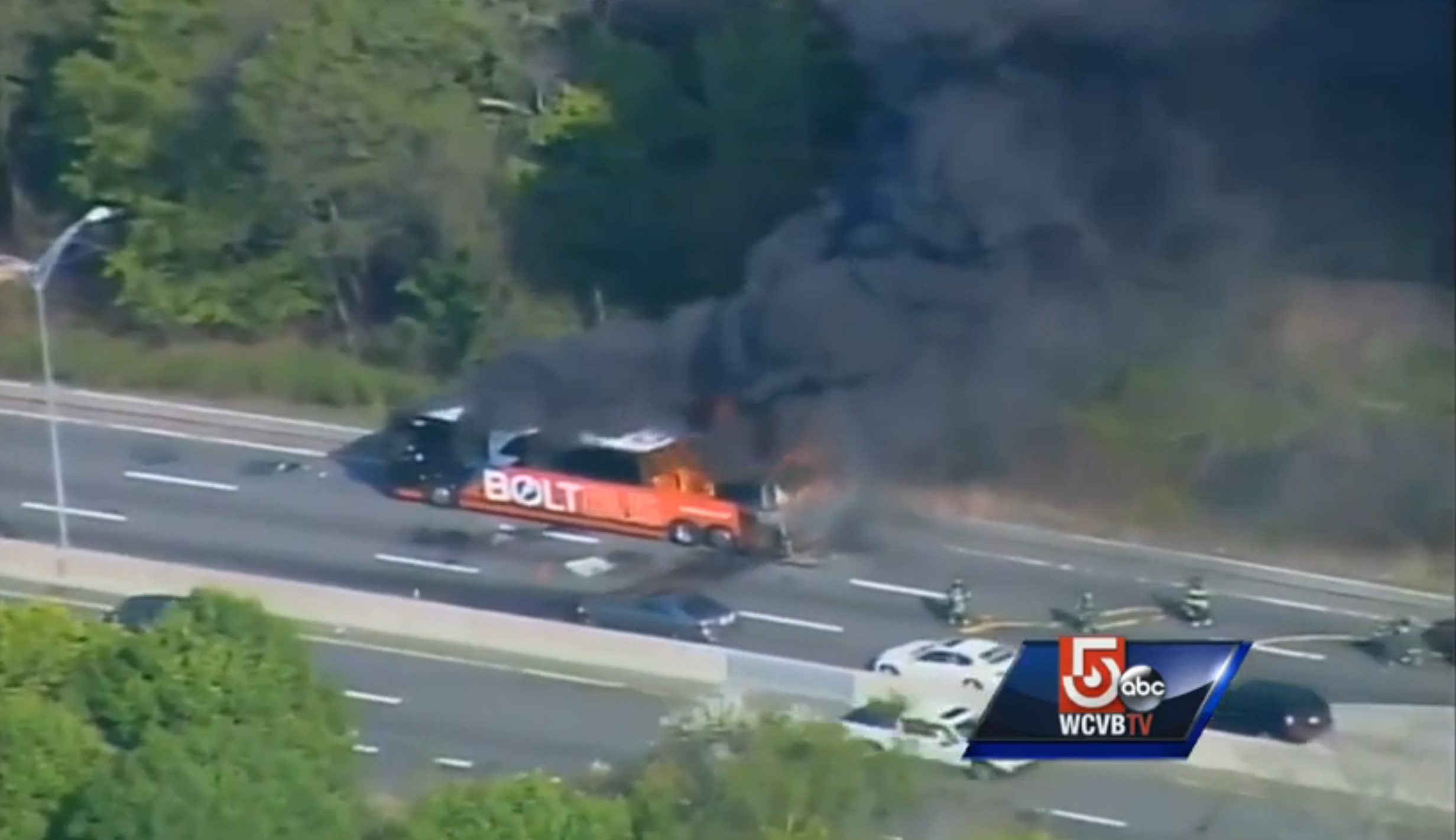 Bolt Bus Near Boston Explodes, Engulfed In Flames