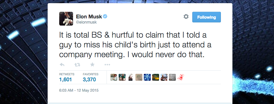 Elon Musk Denies Ever Scolding Employee Over Missing A Work Event To Witness Child's Birth