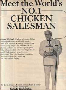 After closing his own restaurant in 1955, the Colonel hit the road selling his recipe and pressure cookers to small restaurant owners. (Vintage Ad Browser)
