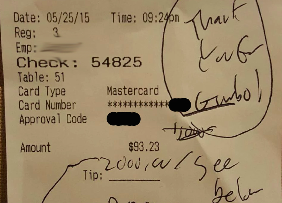 Customer Grateful For D.C. Restaurant's Gumbo Leaves $2,000 Tip On $93 Bill