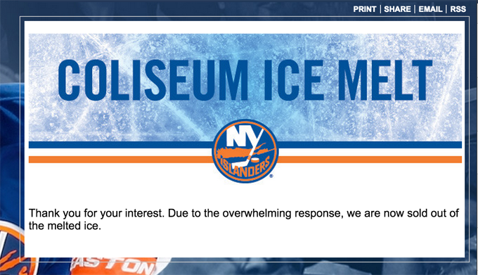New York Islanders Sell Bottles Of Melted Ice From Old Arena For $20