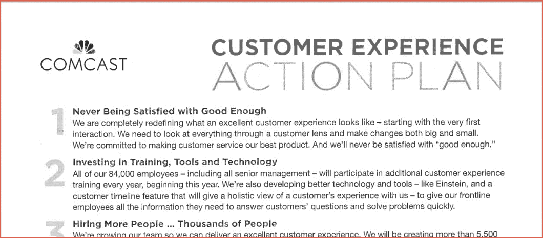 The full Comcast Customer Experience Action Plan is at the bottom of this post.