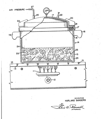 Harland Sanders patented his adapted pressure cooker in 1962, it was finalized ing 1966.