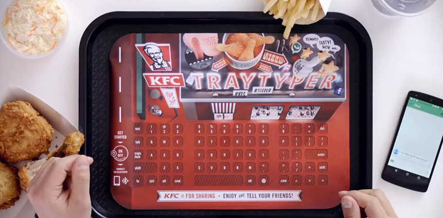 KFC restaurants in Germany rolled out a limited-time tray liner that moonlights as a keyboard for your smartphone.