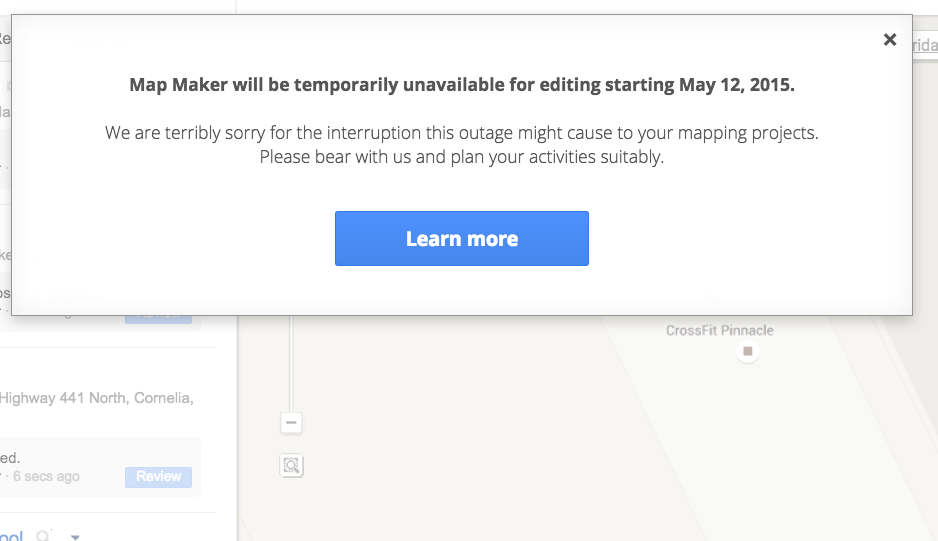 Google Temporarily Shutting Down Editing In Map Maker After