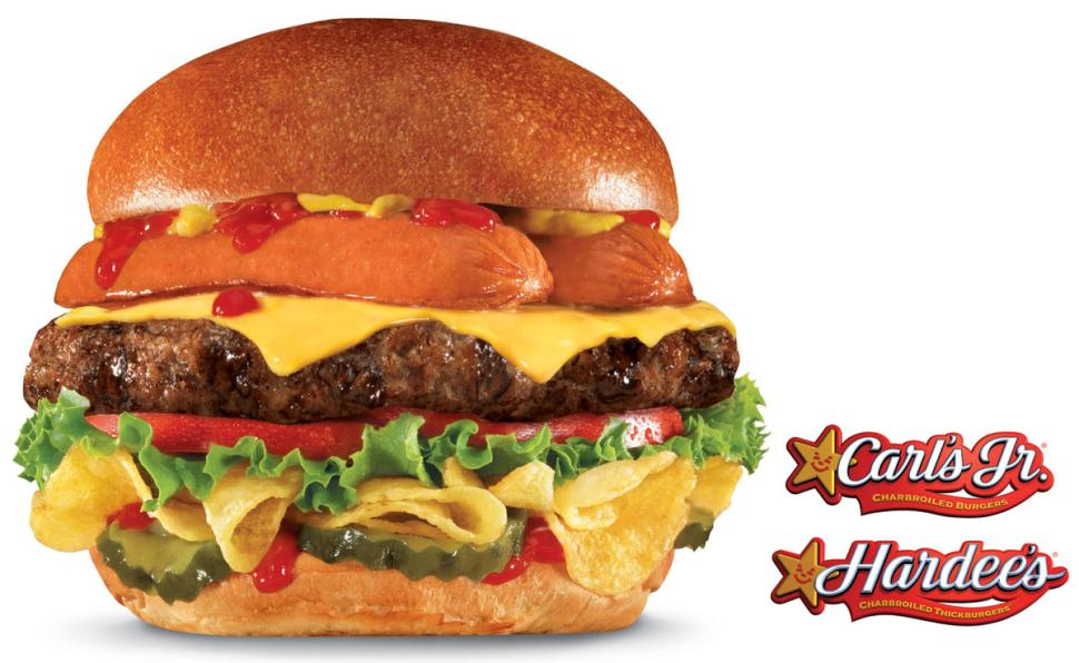 "Hardee's/Carl's Jr. Slaps A Hot Dog & Potato Chips On A Cheeseburger, Calls It ""Most American Thickburger"""