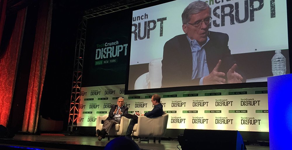 FCC Chairman Tom Wheeler speaking at the TechCrunch Disrupt conference on May 4, 2015.