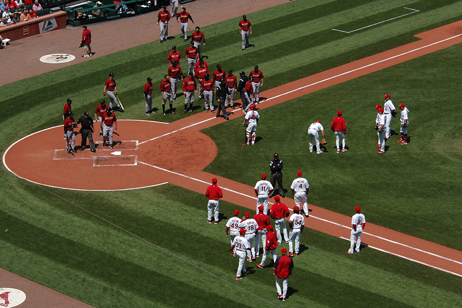 The Astros and Cardinals in a bench-clearing dispute in 2008 at Busch Stadium in St. Louis. (Photo: Paul Thompson)