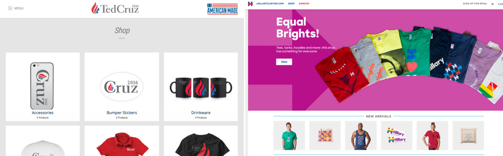 Ted Cruz's online campaign store on left, Hillary Clinton on right.