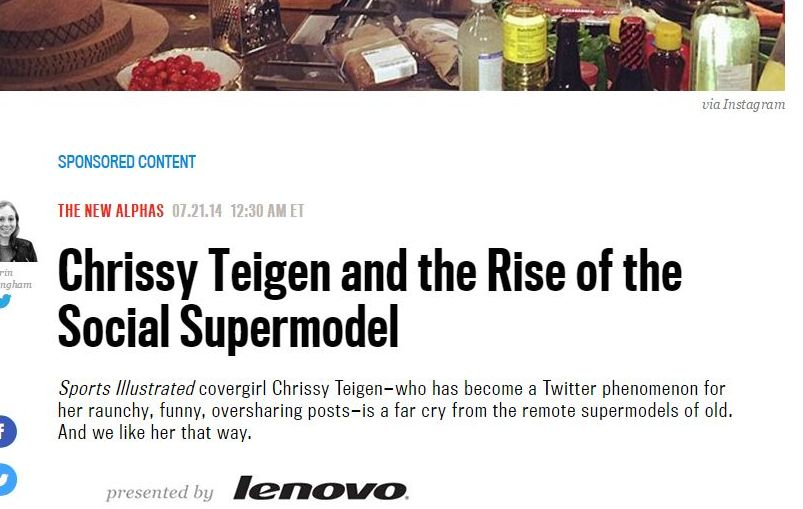 "Thanks Lenovo! Without your sponsorship the world might not have this story on the ""rise of the social supermodel."""