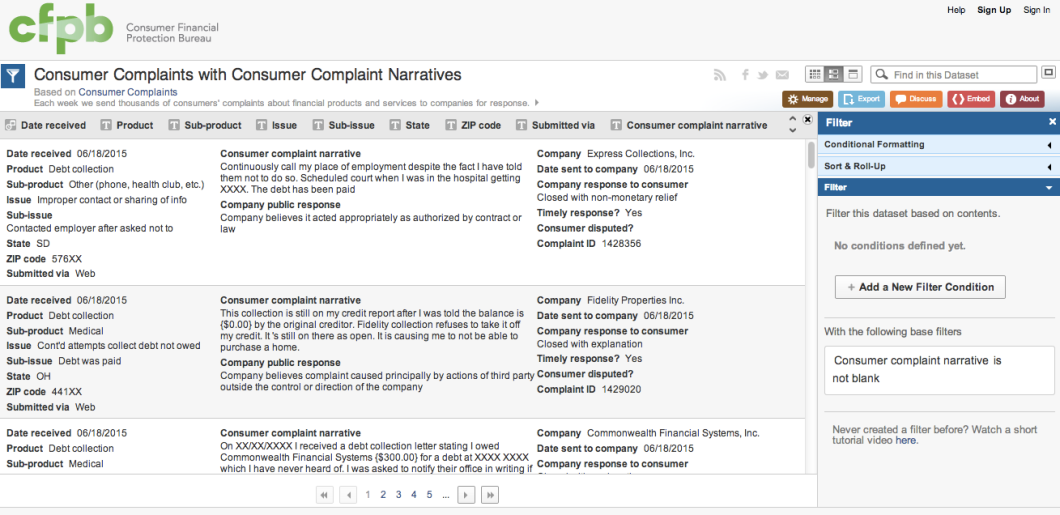 Here's snippet of the consumer narrative database.