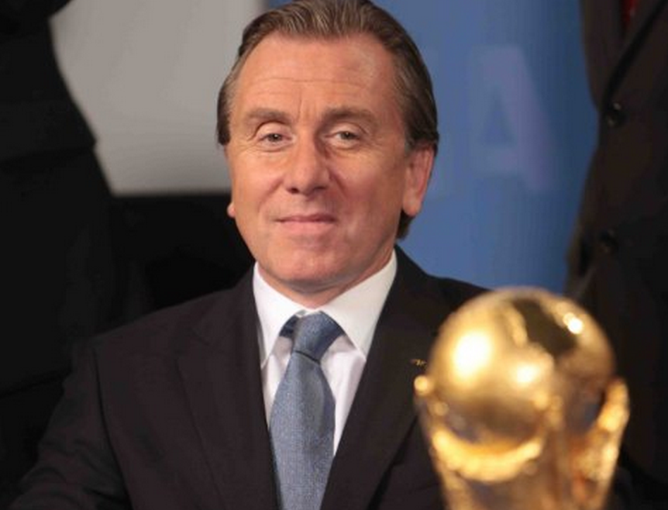 Tim Roth can barely control his excitement (or abdominal discomfort) as he portrays outgoing FIFA President Sepp Blatter during his glory years in United Passions.